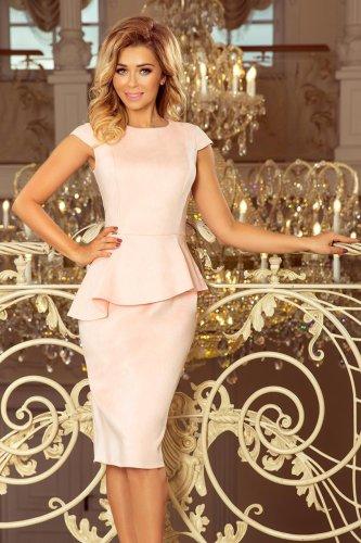 59e22368dd3e Zamszowa Sukienka Midi z Asymetryczną Baskinką Różowa NU192-8 BESIMA.pl