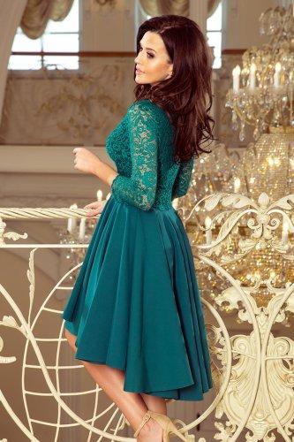 4f5f6a5b Asymetryczna Sukienka z Koronką Morska NU210-8