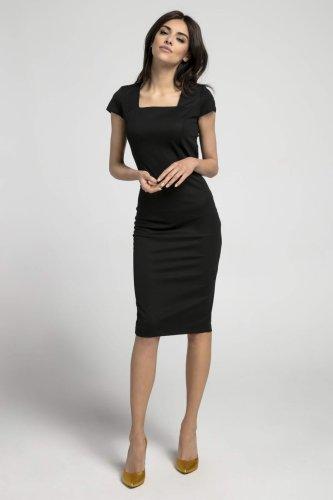 Dopasowana Sukienka z Dekoltem Karo Czarna NA1044