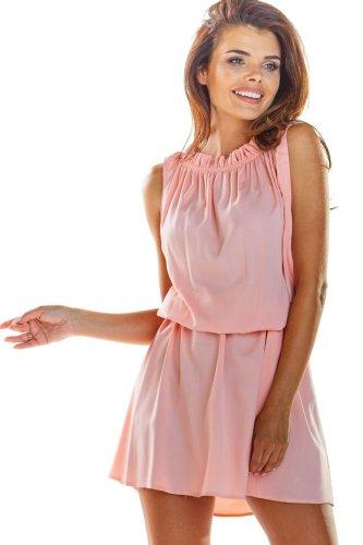 43f26a41774ea5 Letnia Mini Sukienka Pudrowy Róż AW284 BESIMA.pl