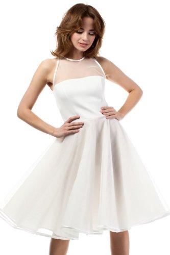 017622a727 Sukienka Wieczorowa z Tiulem Ecru MOE148 BESIMA.pl