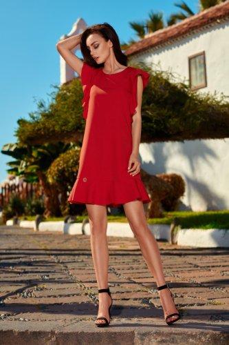 388226b88c Trapezowa Sukienka z Falbankami Czerwona LEL248 BESIMA.pl