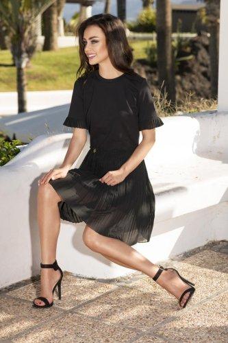 0969fa10aa23fc Sukienka z Plisowaną Spódnicą Czarna LEL242 BESIMA.pl