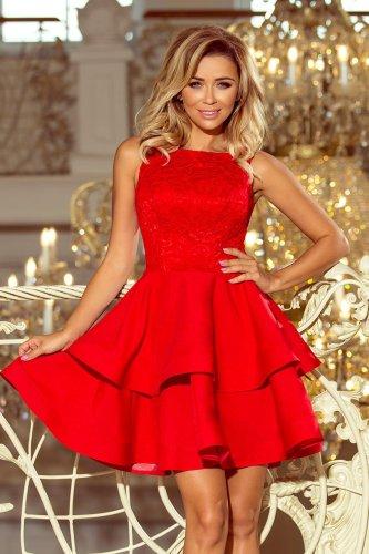 064147e7ee Sukienka z Koronkową Górą i Podwójną Falbaną Czerwona NU205-1 BESIMA.pl