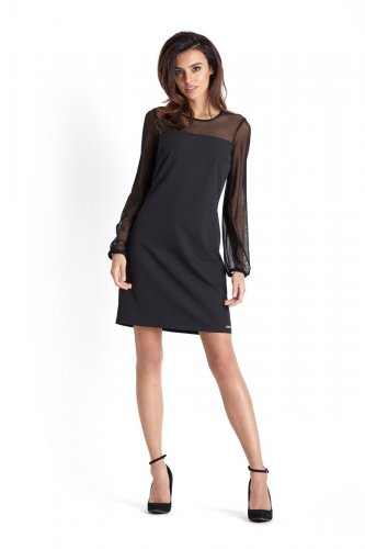 12cba07ee6fa2d Elegancka Sukienka z Rękawem z Siateczki Czarna 226. Producent: IVON