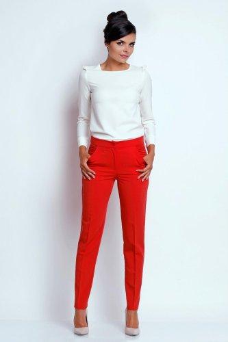 b11ec8a9d4a7c5 Eleganckie Spodnie o Prostych Nogawkach Czerwone NA436 BESIMA.pl
