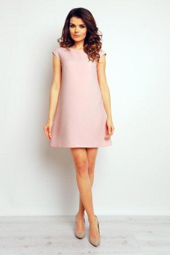 8c81dca20c Sukienka Trapezowa Pudrowa M74. eleganckie