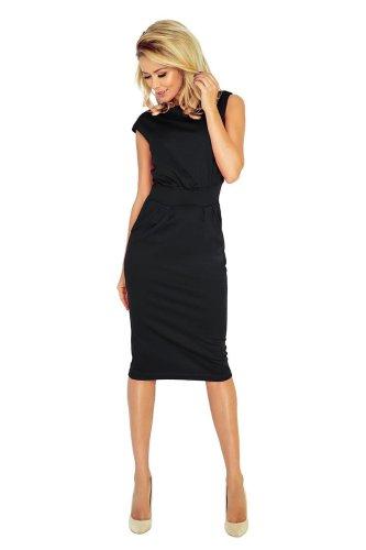 8df0da8a Dopasowana Sukienka Midi Czarna NU144-3