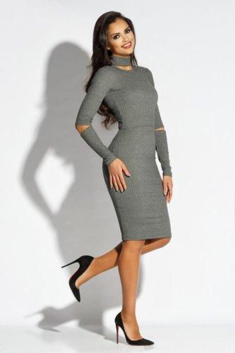 1f5f9ef00b Dzianinowa Elegancka Sukienka Szara Rico BESIMA.pl
