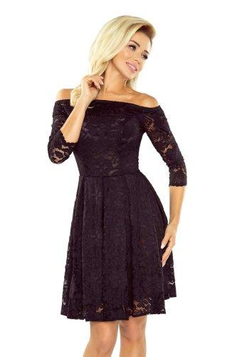 5233241b Rozkloszowana Sukienka z Koronki Czarna NU168-1