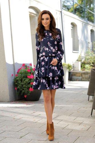 5ca2481a Koszulowa Sukienka z Kołnierzykiem Granatowa w Kwiatki LEL281
