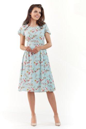 8a582b355615ff Sukienka Rozkloszowana Niebieska w Kwiaty AW218 BESIMA.pl