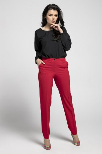 820860489dc07e Klasyczne Spodnie o Prostych Nogawkach Czerwone NA552 BESIMA.pl