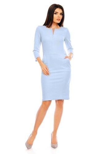 706402ce Dopasowana Sukienka z Odpinanym Zameczkiem Błękitna NA477