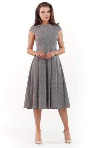 07984aff3b Elegancka Sukienka Midi w Kratkę AW222 BESIMA.pl