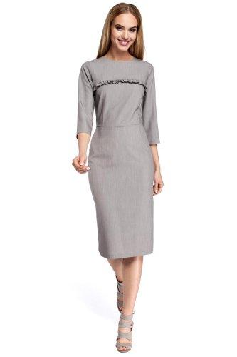 bf599e10 Klasyczna Ołówkowa Sukienka Szara MO297