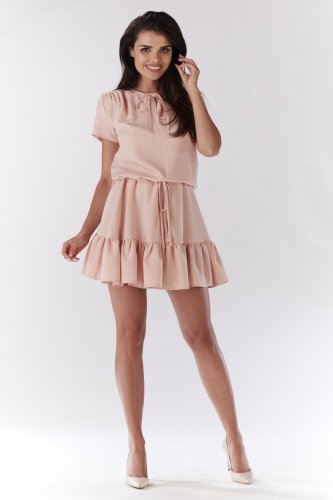 1d0aaa97 Sukienka z Falbaną Pudrowy Róż AW180