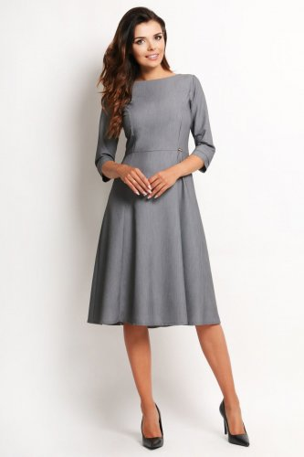 cace5bd19 sukienki, klasyczne, szare, biura, rozkloszowane, sklep, besima, a112