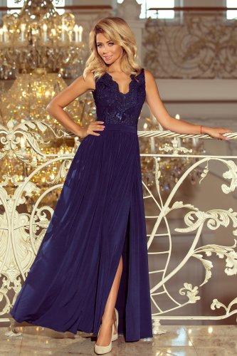 63600f8a5f Długa Sukienka z Koronkową Górą Granatowa NU215-2 BESIMA.pl