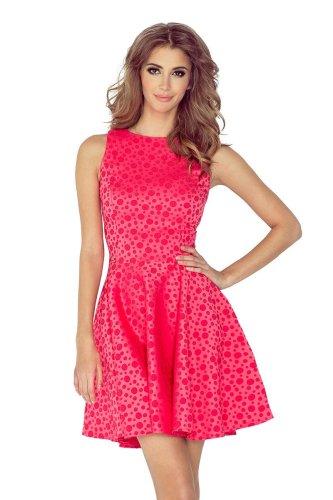 a65215bd66 Sukienka Klasyczna Rozkloszowana w Kółka Różowa NU125-13 BESIMA.pl