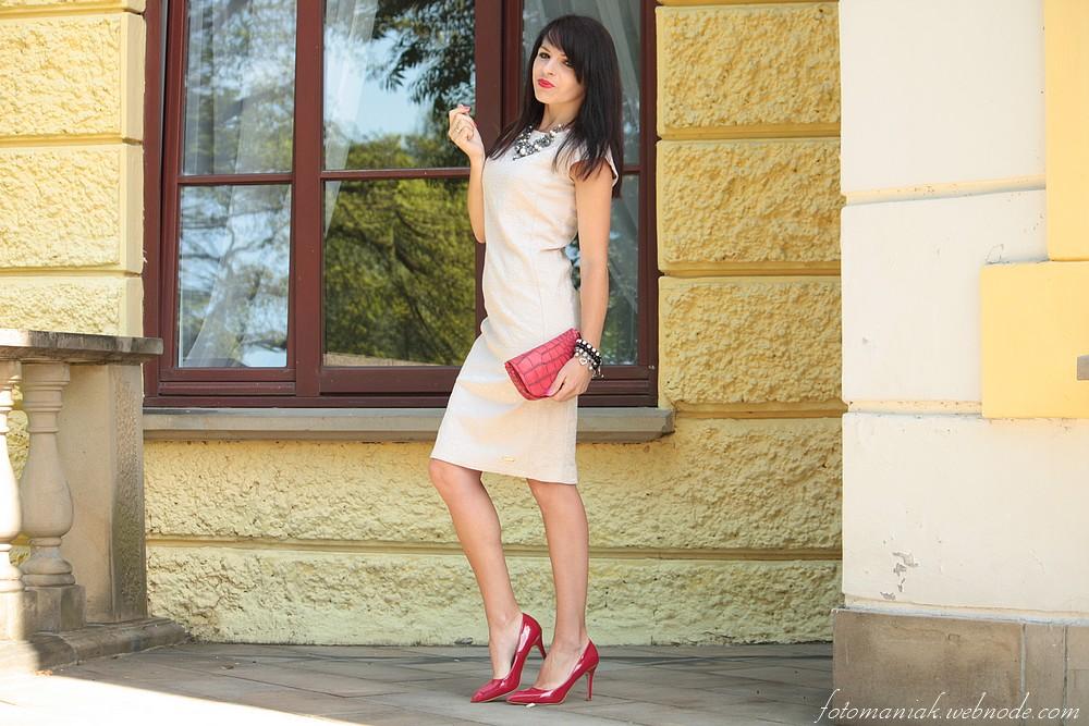 Bezowa Sukienka Koktajlowa Besima Pl