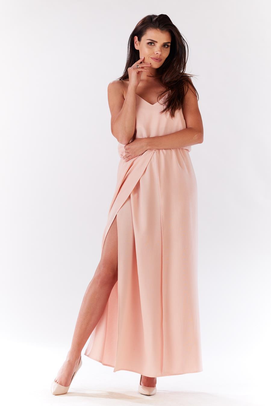 b4244d73f4e72c M138, sukienka, letnia, pudrowa, rozcięciem, długa, sklep, online ...