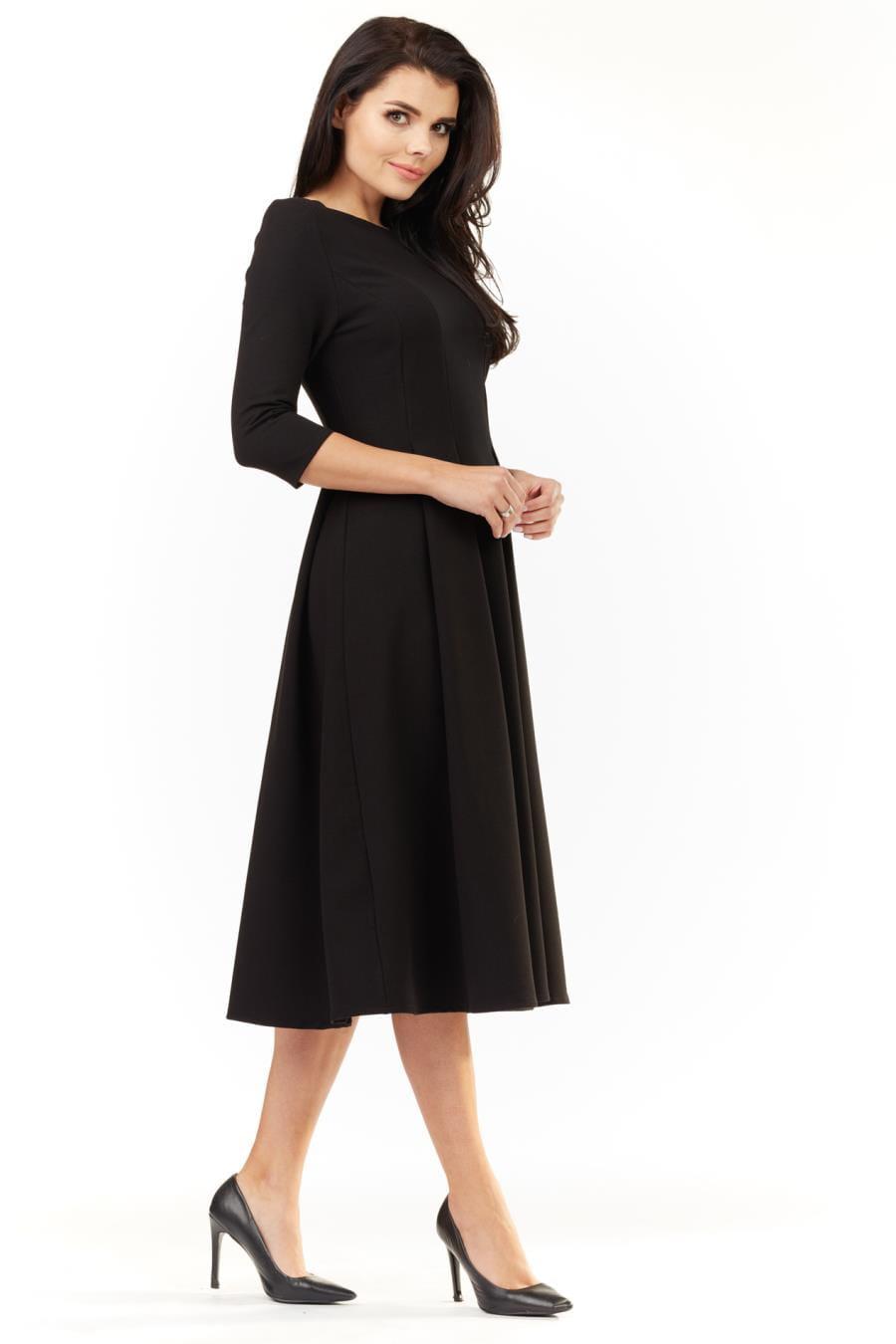 31b1165603 Sukienka Bawełniana z Zakładkami Midi Czarna IN155 BESIMA.pl