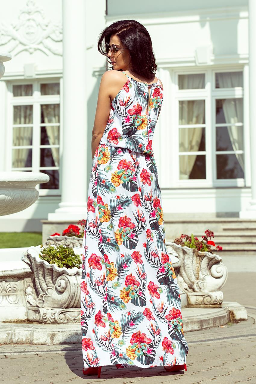 3efb31ae Zwiewna Maxi Sukienka Biała w Kwiaty NU191-4