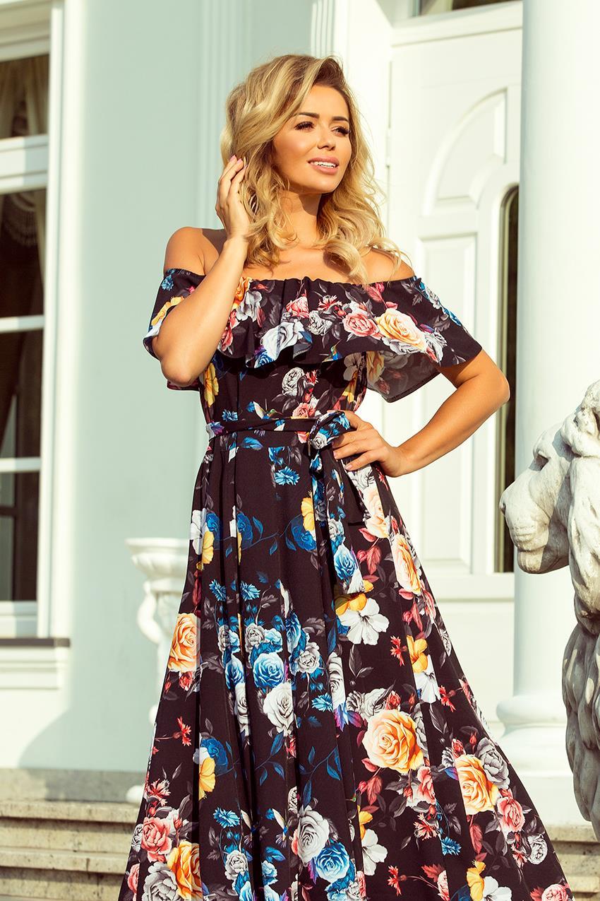 cc032a12d4acf3 Sukienka Maxi w Stylu Hiszpańskim Czarna w Kolorowe Kwiaty NU194-3