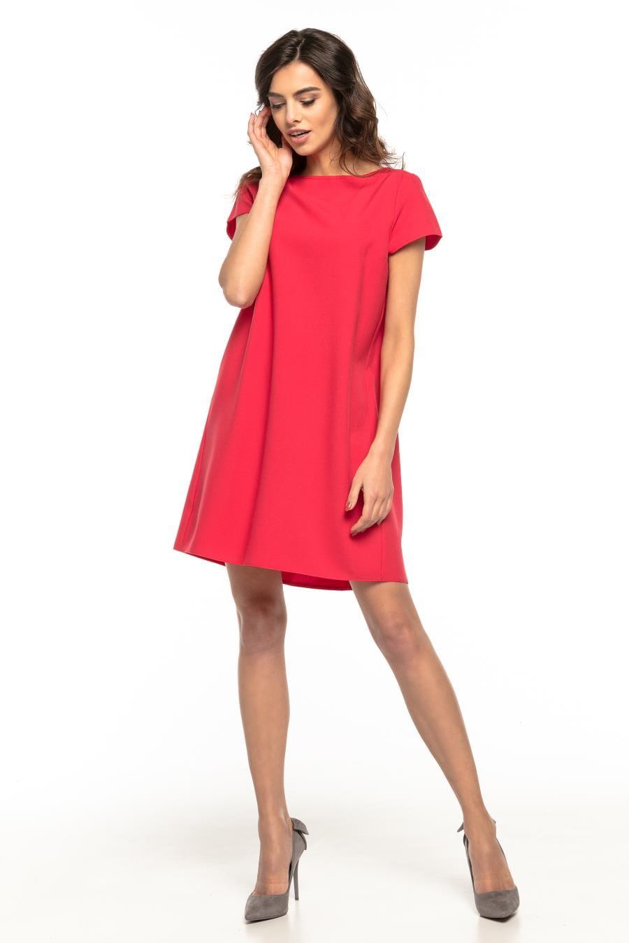 336d49c943 Mini Sukienka o Prostym Kroju Malinowa TE261 BESIMA.pl
