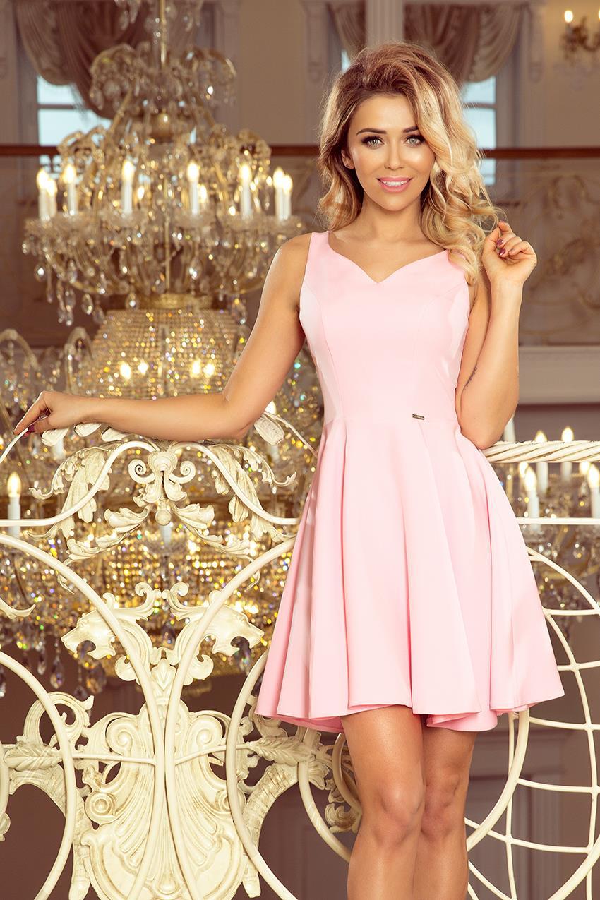 4c613465e1 Rozkloszowana Sukienka z Dekoltem w Szpic Pastelowy Róż MM014-10