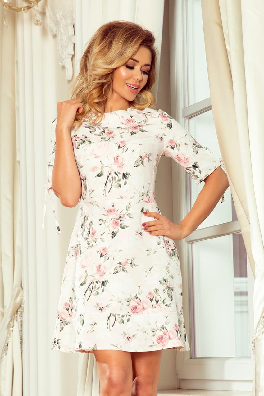 7b4641bee6 Sukienka w Kwiaty z Falbankami NU235-1 BESIMA.pl