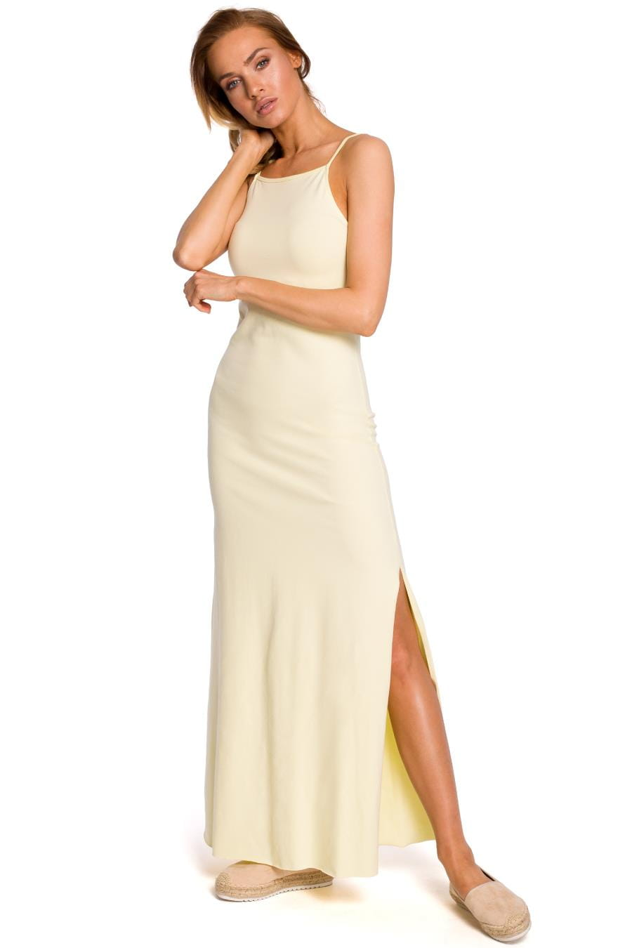 Bawełniana Dzienna Maxi Sukienka Żółta MO432