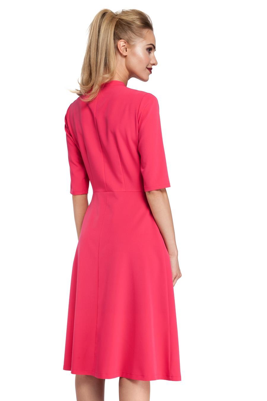 8724e4126d Dzienna Sukienka Midi Różowa MO298 BESIMA.pl