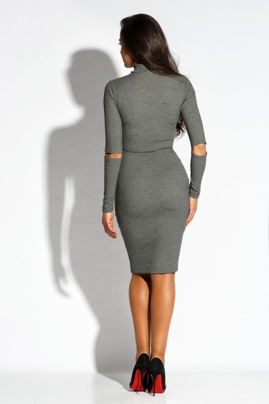 5cd84a89 Dzianinowa Elegancka Sukienka Szara Rico