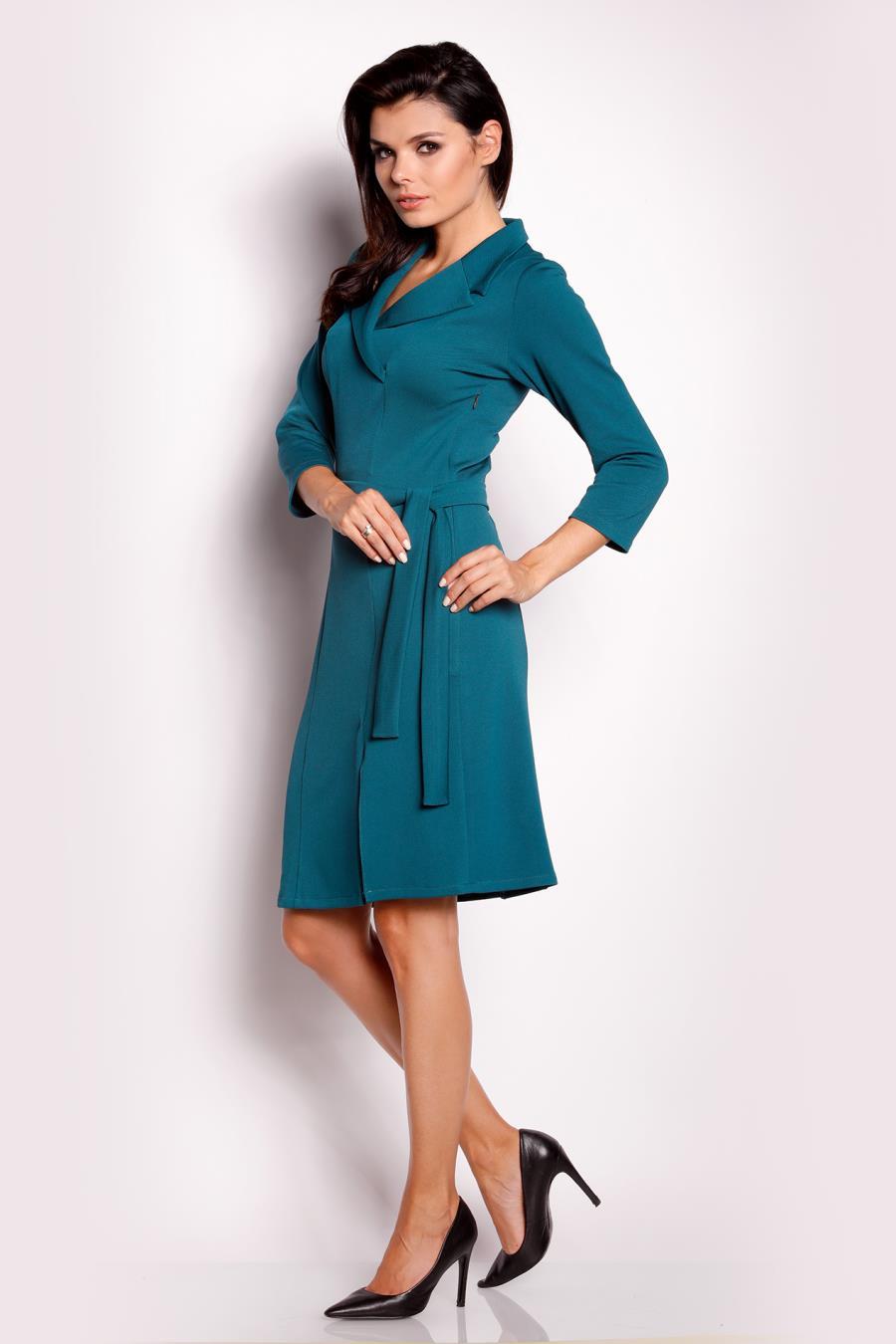 a45a496345 Sukienka z Kołnierzykiem Zielona AW151 BESIMA.pl