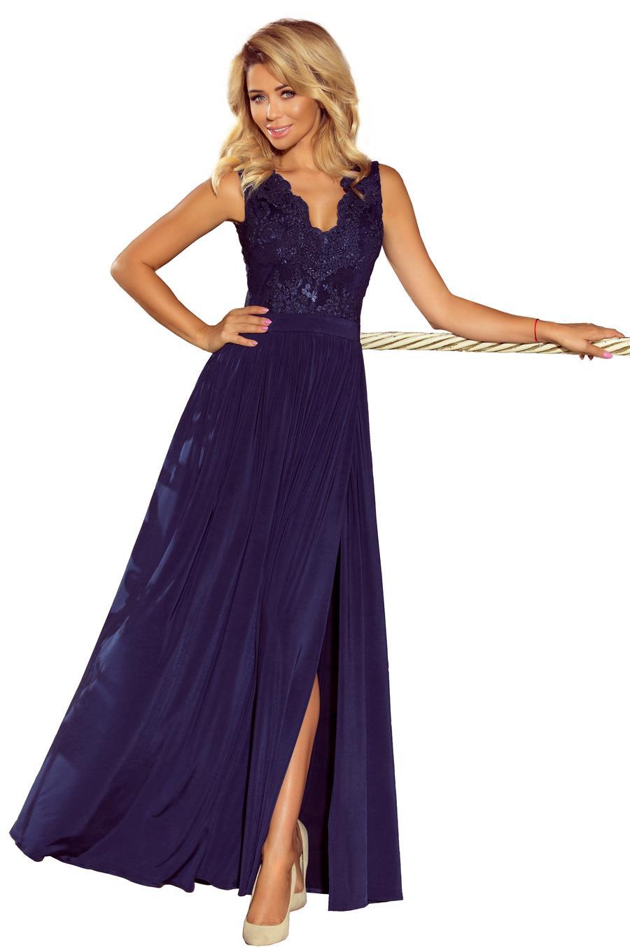 2e25f6fcef Długa Sukienka z Koronkową Górą Granatowa NU215-2. Producent  Numoco