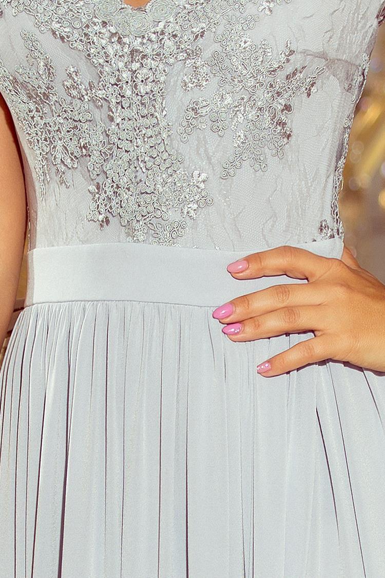 cf81a7c407 Długa Sukienka z Koronkową Górą Srebrna NU215-1. Producent  Numoco