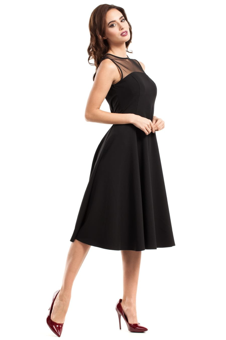 e06ddf4364 Rozkloszowana Sukienka z Tiulem Czarna MO271 BESIMA.pl