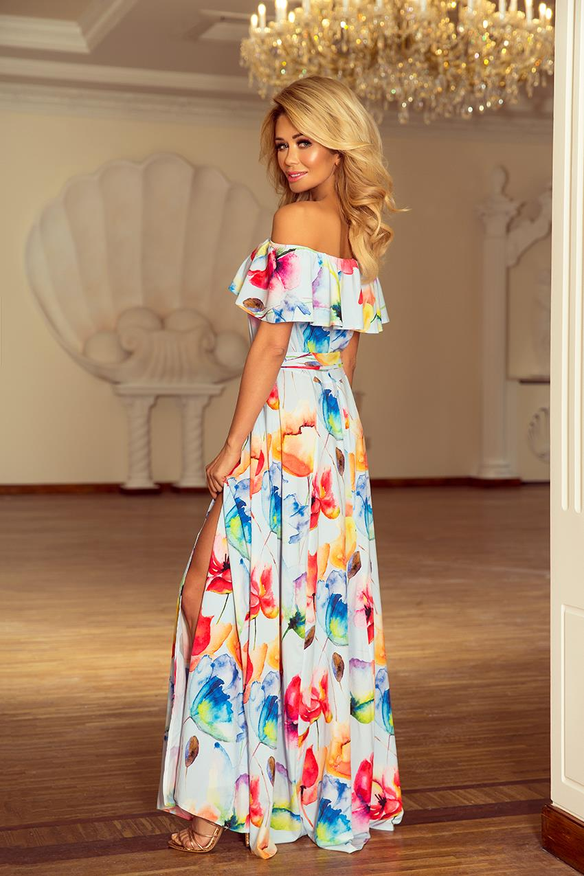 ed25ea8c189164 Sukienka Maxi w Stylu Hiszpańskim Kolorowe Kwiaty NU194-1 BESIMA.pl