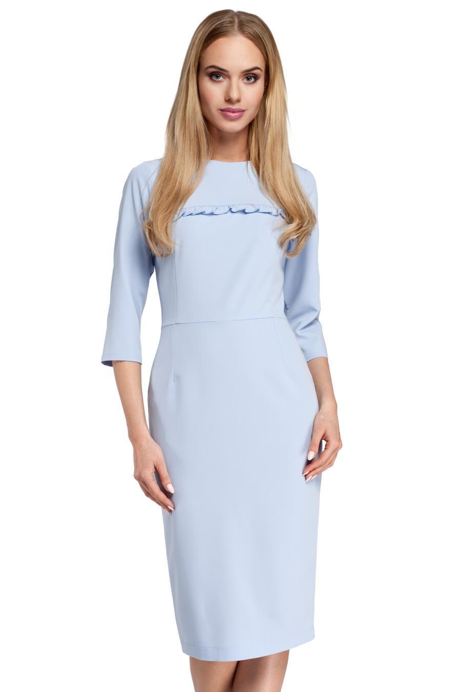 5120aabf63 Klasyczna Ołówkowa Sukienka Błękitna MO297 BESIMA.pl