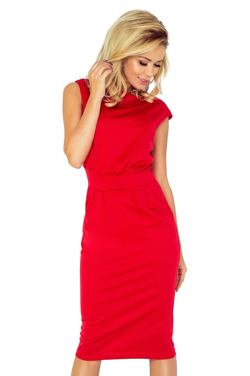 c48b806e9e Dopasowana Sukienka Midi Czerwona NU144-2 BESIMA.pl