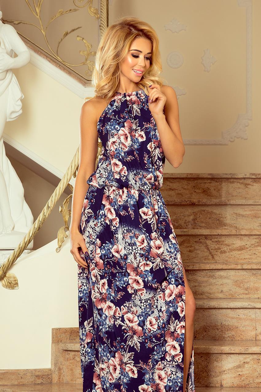 23e04829 Zwiewna Maxi Sukienka Granatowa w Kwiaty NU191-2