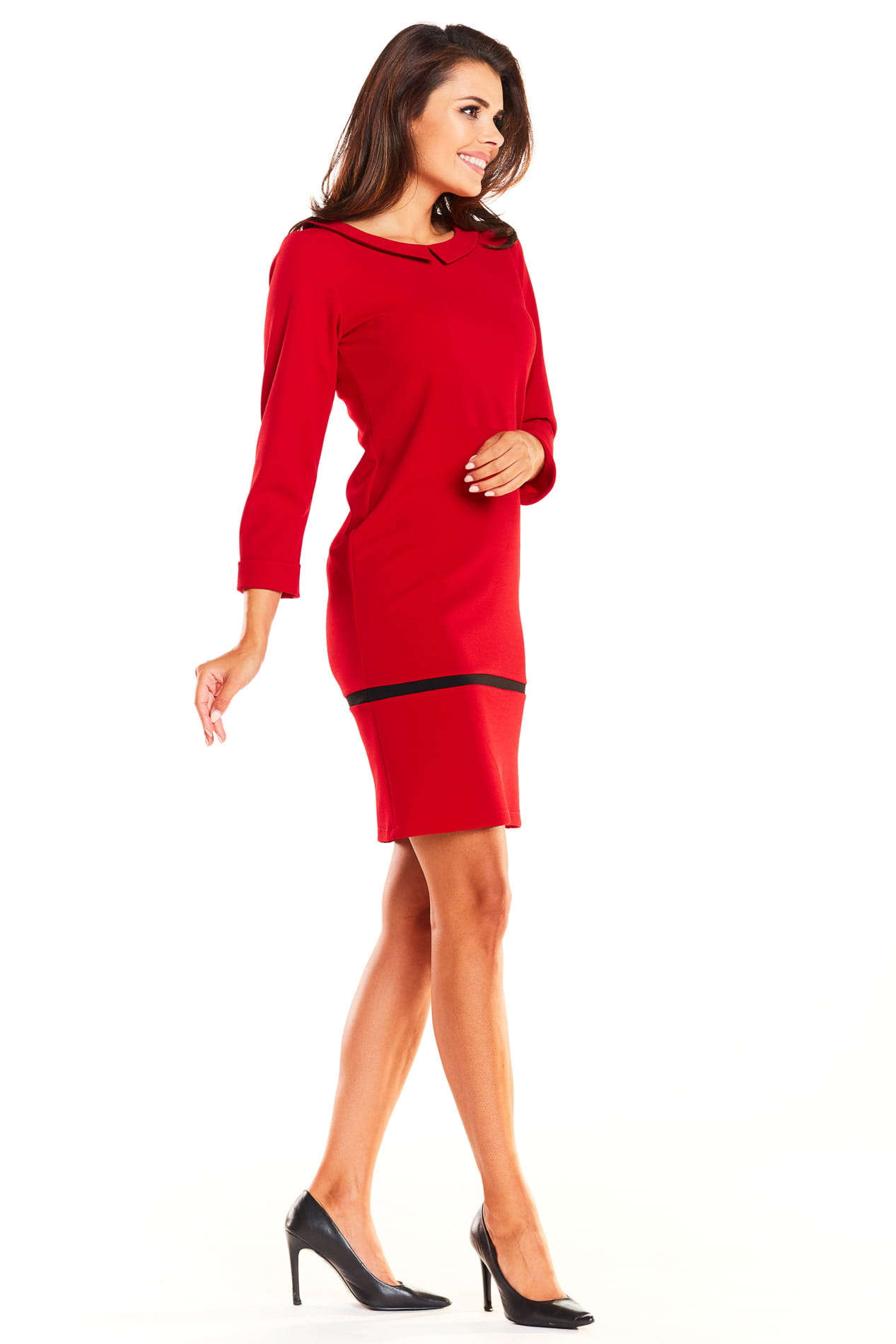 444f2764d9 Elegancka Sukienka z Kołnierzykiem Czerwona AW238 BESIMA.pl