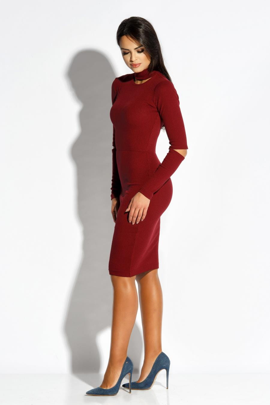 b1ab3aeb Dzianinowa Elegancka Sukienka Bordowa Rico