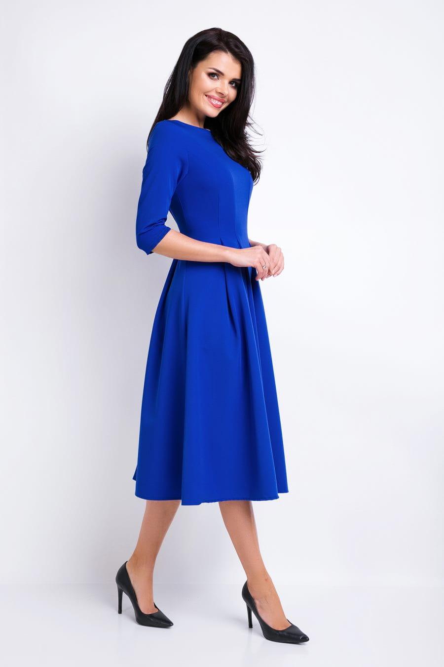 b558bbbe33 Elegancka Sukienka Midi Niebieska AW159 BESIMA.pl