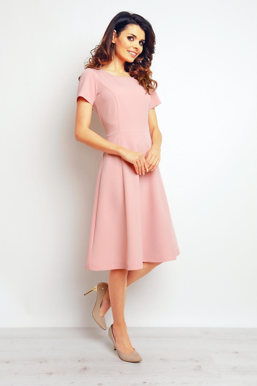 9d248d1f61 Sukienka Wizytowa Pudrowa M095 BESIMA.pl
