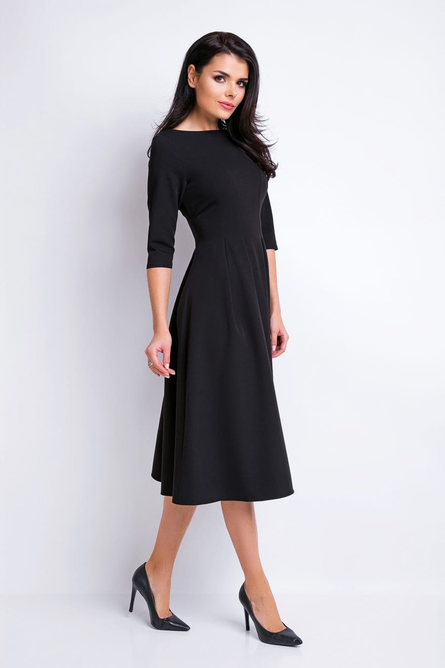 df57ce5941 Elegancka Sukienka Midi Czarna AW159 BESIMA.pl