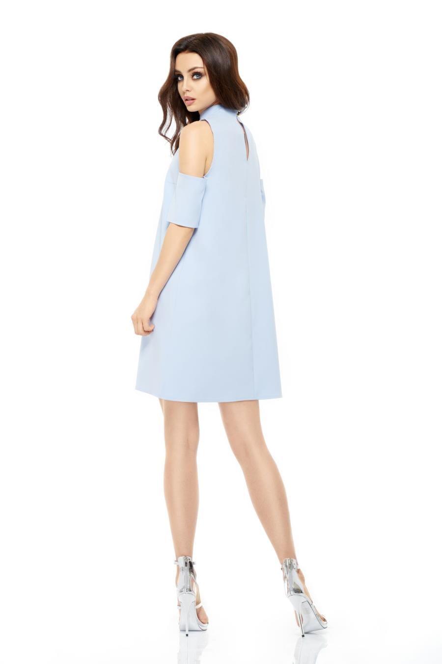 a16f897680 Trapezowa Sukienka z Odkrytymi Ramionami Błękitna LEL245 BESIMA.pl