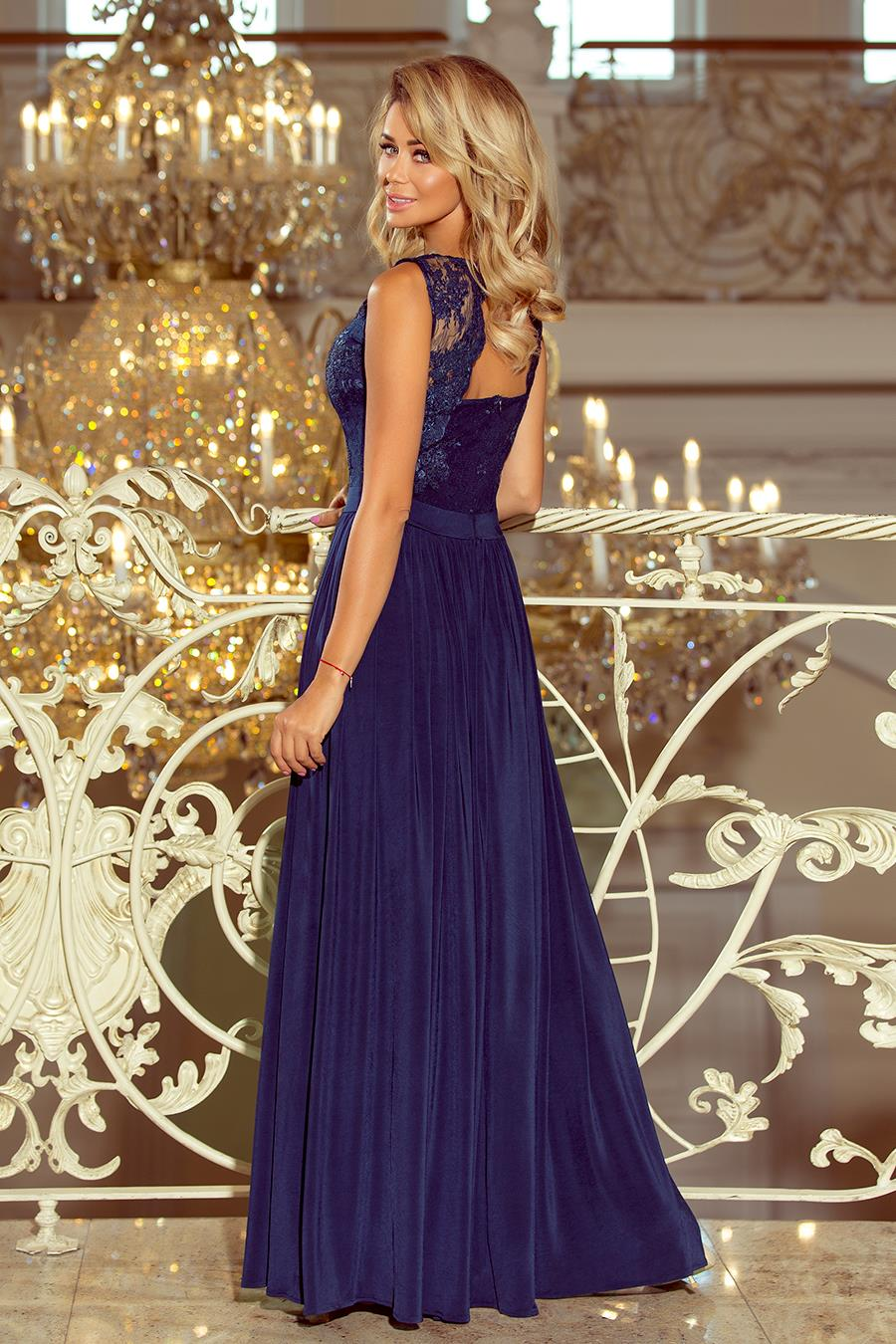 267e97e2e9 Długa Sukienka z Koronkową Górą Granatowa NU215-2 BESIMA.pl